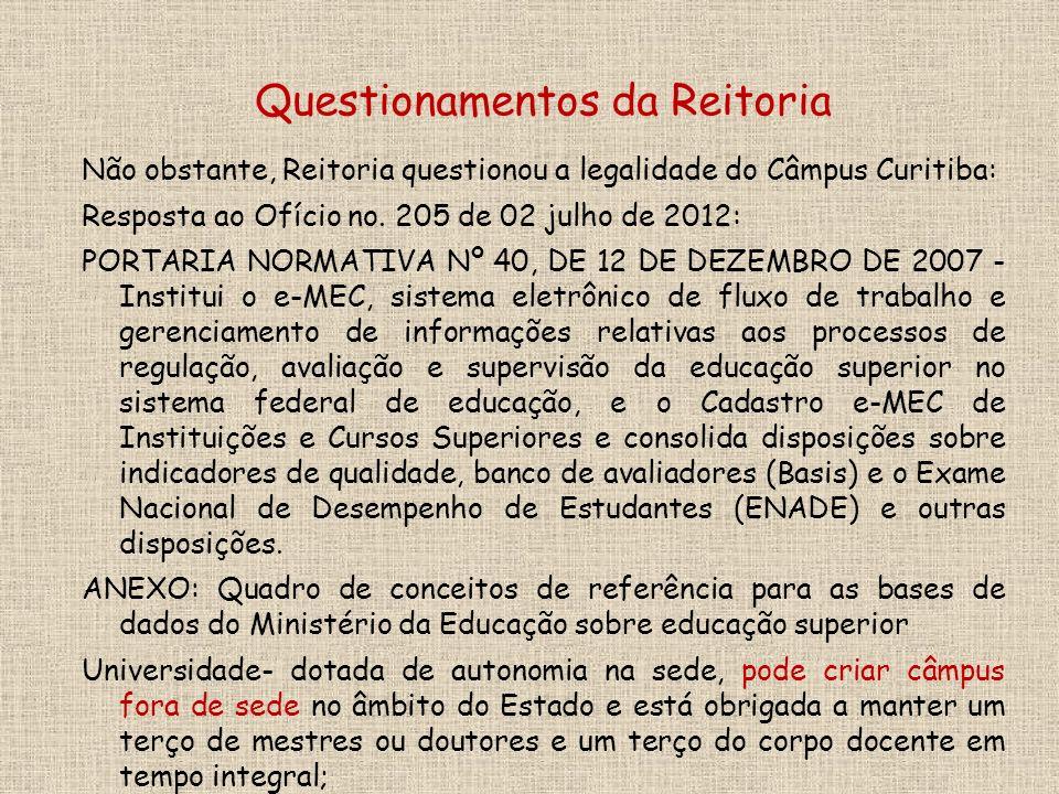 Não obstante, Reitoria questionou a legalidade do Câmpus Curitiba: Resposta ao Ofício no.