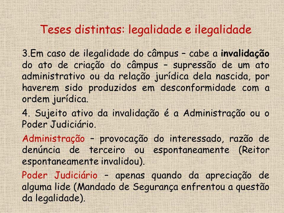3.Em caso de ilegalidade do câmpus – cabe a invalidação do ato de criação do câmpus – supressão de um ato administrativo ou da relação jurídica dela nascida, por haverem sido produzidos em desconformidade com a ordem jurídica.