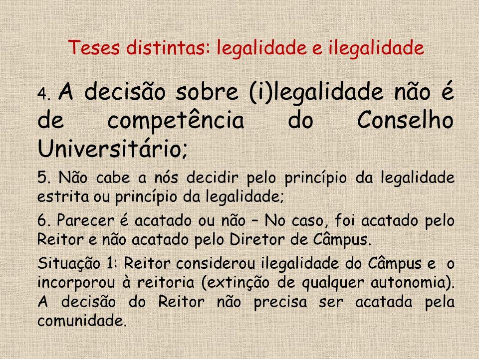 4. A decisão sobre (i)legalidade não é de competência do Conselho Universitário; 5.