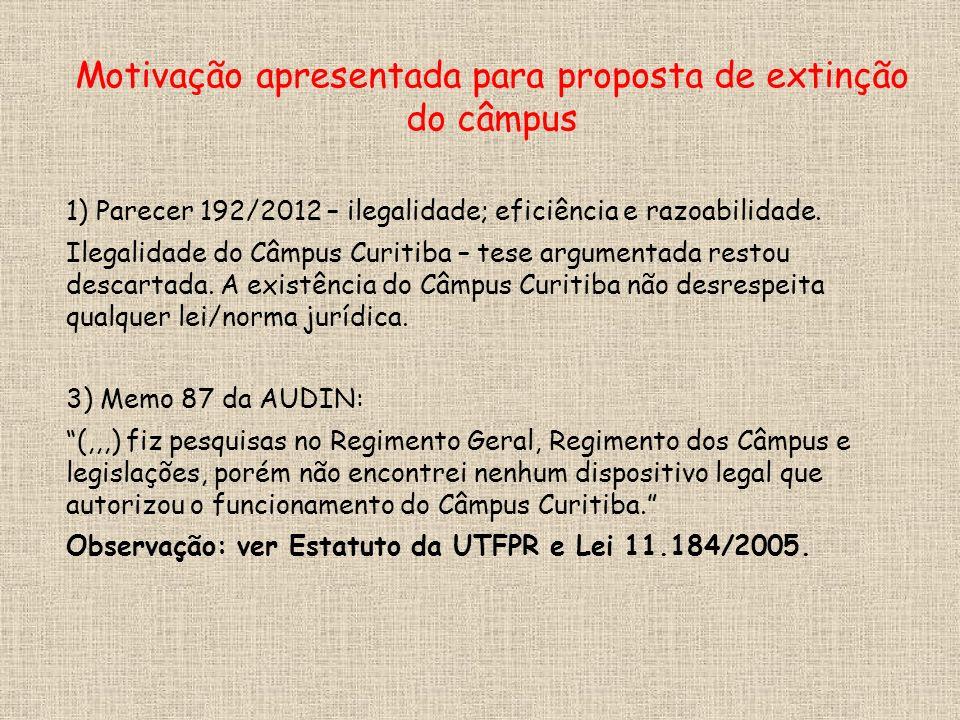 1) Parecer 192/2012 – ilegalidade; eficiência e razoabilidade.