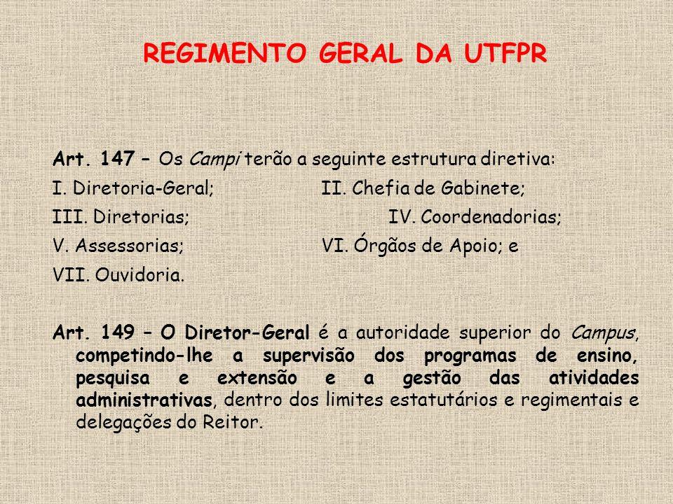 REGIMENTO GERAL DA UTFPR Art. 147 – Os Campi terão a seguinte estrutura diretiva: I.