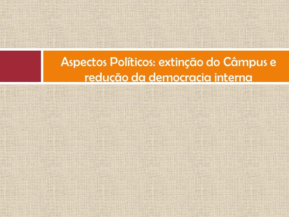 Aspectos Políticos: extinção do Câmpus e redução da democracia interna