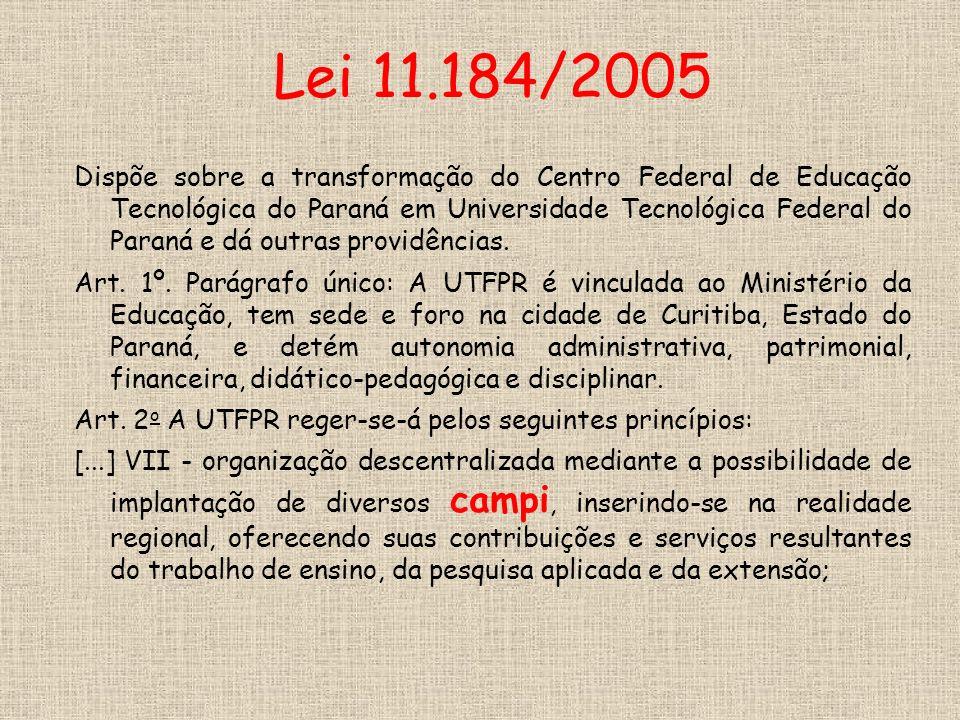 Lei 11.184/2005 Dispõe sobre a transformação do Centro Federal de Educação Tecnológica do Paraná em Universidade Tecnológica Federal do Paraná e dá outras providências.