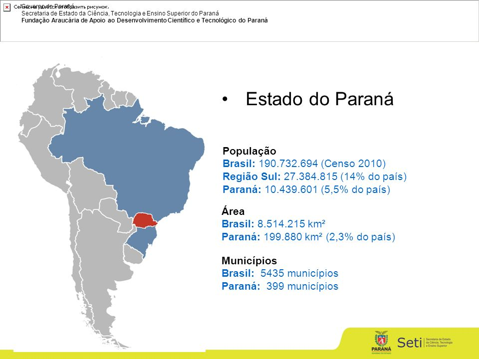 Governo do Paraná Secretaria de Estado da Ciência, Tecnologia e Ensino Superior do Paraná Fundação Araucária de Apoio ao Desenvolvimento Científico e Tecnológico do Paraná Área Brasil: 8.514.215 km² Paraná: 199.880 km² (2,3% do país) População Brasil: 190.732.694 (Censo 2010) Região Sul: 27.384.815 (14% do país) Paraná: 10.439.601 (5,5% do país) Estado do Paraná Municípios Brasil: 5435 municípios Paraná: 399 municípios