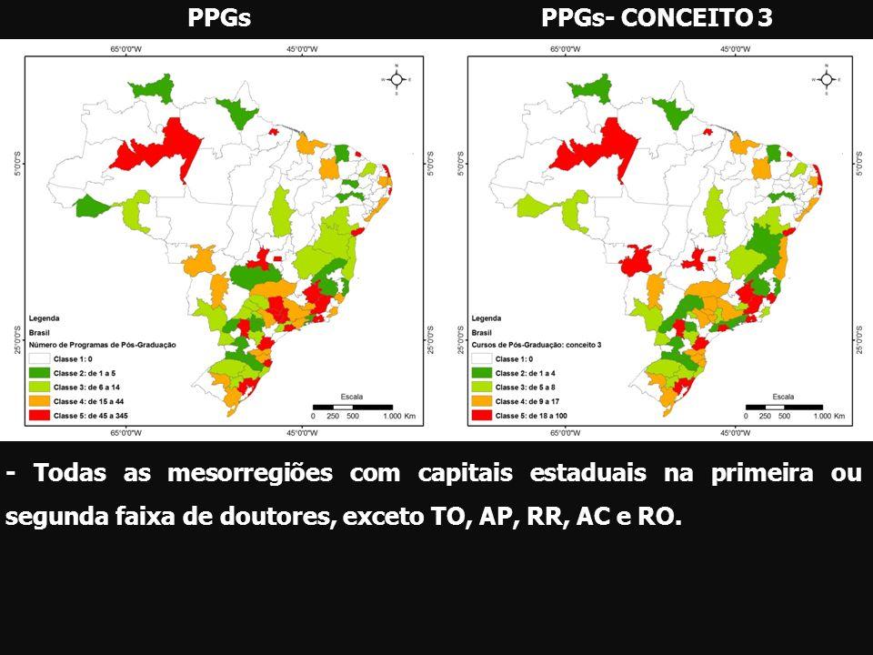 PPGsPPGs- CONCEITO 3 - Todas as mesorregiões com capitais estaduais na primeira ou segunda faixa de doutores, exceto TO, AP, RR, AC e RO.