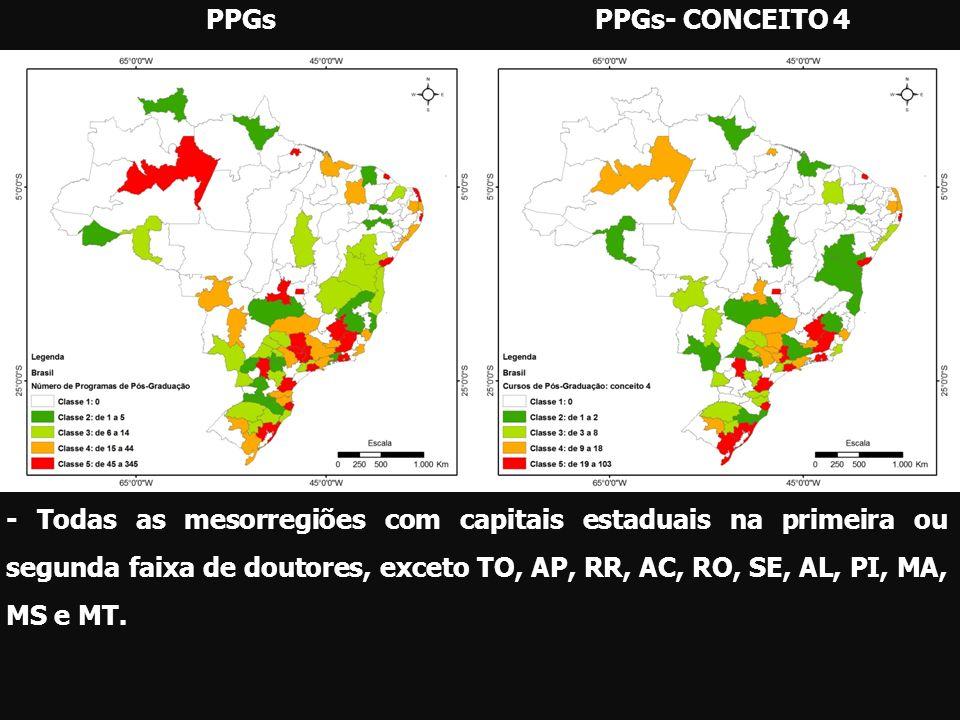 PPGsPPGs- CONCEITO 4 - Todas as mesorregiões com capitais estaduais na primeira ou segunda faixa de doutores, exceto TO, AP, RR, AC, RO, SE, AL, PI, M