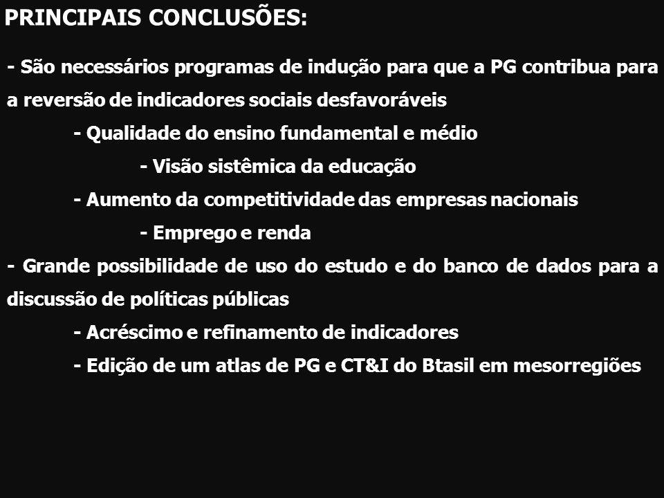 - São necessários programas de indução para que a PG contribua para a reversão de indicadores sociais desfavoráveis - Qualidade do ensino fundamental