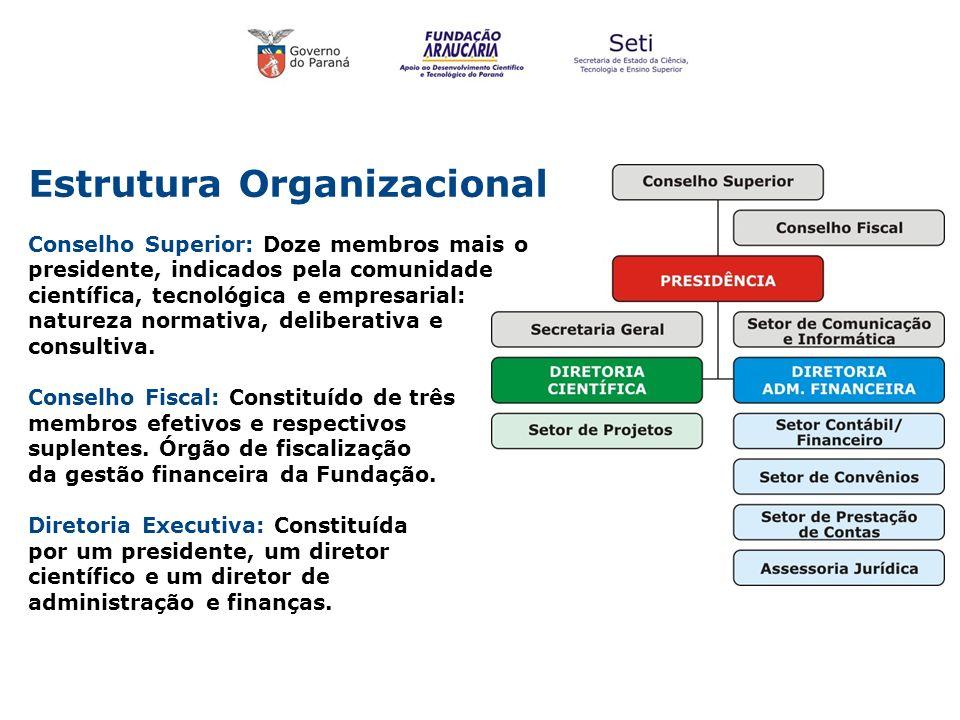 Estrutura Organizacional Conselho Superior: Doze membros mais o presidente, indicados pela comunidade científica, tecnológica e empresarial: natureza