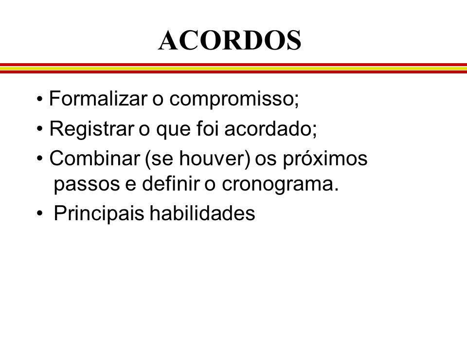 ACORDOS Formalizar o compromisso; Registrar o que foi acordado; Combinar (se houver) os próximos passos e definir o cronograma. Principais habilidades