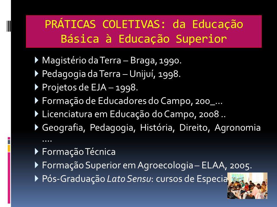 PRÁTICAS COLETIVAS: da Educação Básica à Educação Superior Magistério da Terra – Braga, 1990. Pedagogia da Terra – Unijuí, 1998. Projetos de EJA – 199