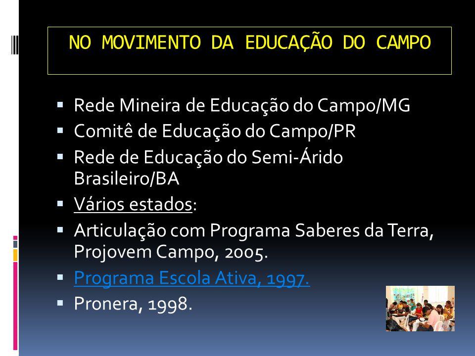 NO MOVIMENTO DA EDUCAÇÃO DO CAMPO Rede Mineira de Educação do Campo/MG Comitê de Educação do Campo/PR Rede de Educação do Semi-Árido Brasileiro/BA Vár
