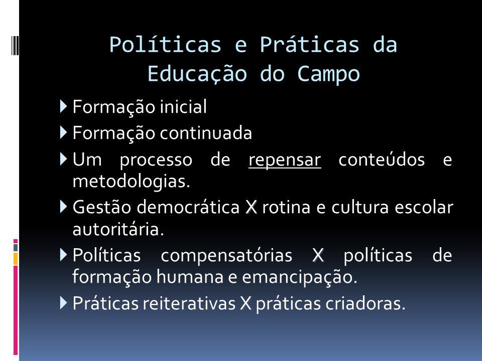 Políticas e Práticas da Educação do Campo Formação inicial Formação continuada Um processo de repensar conteúdos e metodologias. X Gestão democrática