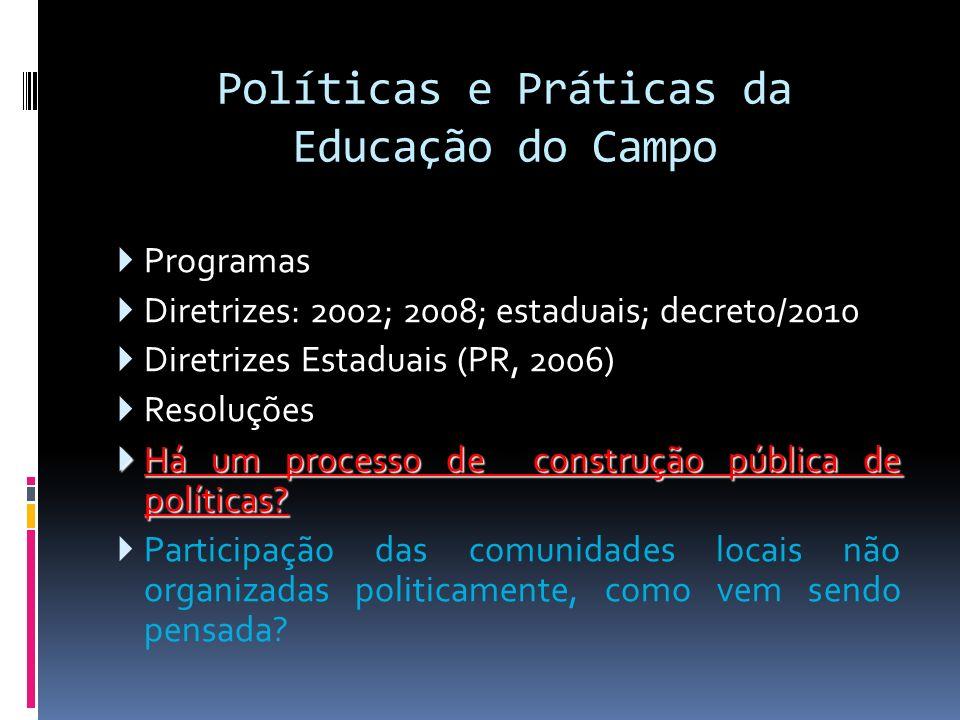 Políticas e Práticas da Educação do Campo Programas Diretrizes: 2002; 2008; estaduais; decreto/2010 Diretrizes Estaduais (PR, 2006) Resoluções Há um p