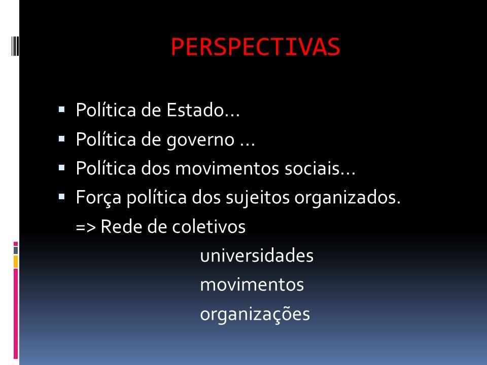 PERSPECTIVAS Política de Estado... Política de governo... Política dos movimentos sociais... Força política dos sujeitos organizados. => Rede de colet
