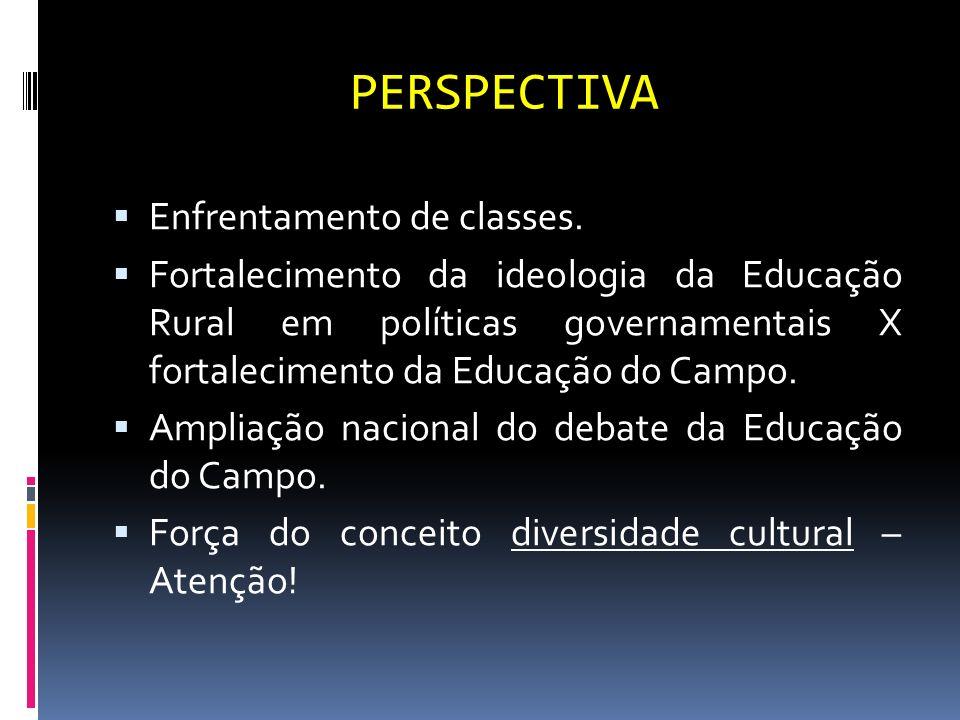 PERSPECTIVA Enfrentamento de classes. Fortalecimento da ideologia da Educação Rural em políticas governamentais X fortalecimento da Educação do Campo.