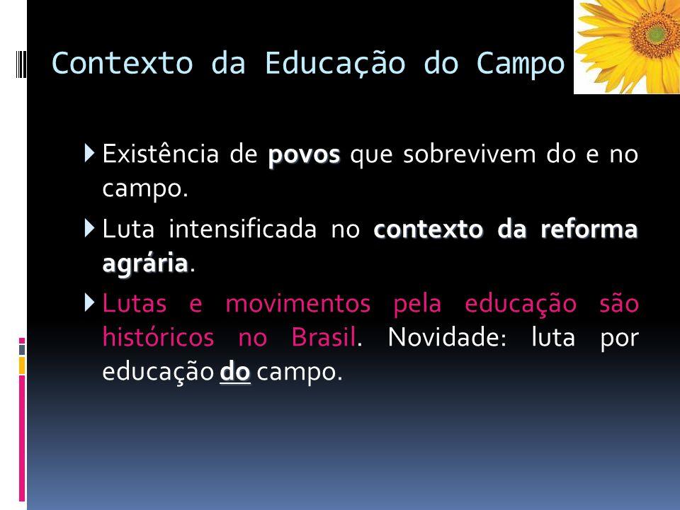 Contexto da Educação do Campo povos Existência de povos que sobrevivem do e no campo. contexto da reforma agrária Luta intensificada no contexto da re