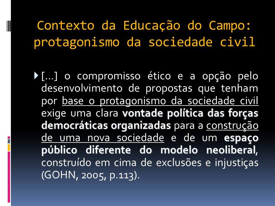 Contexto da Educação do Campo: protagonismo da sociedade civil vontade política das forças democráticas organizadas espaço público diferente do modelo