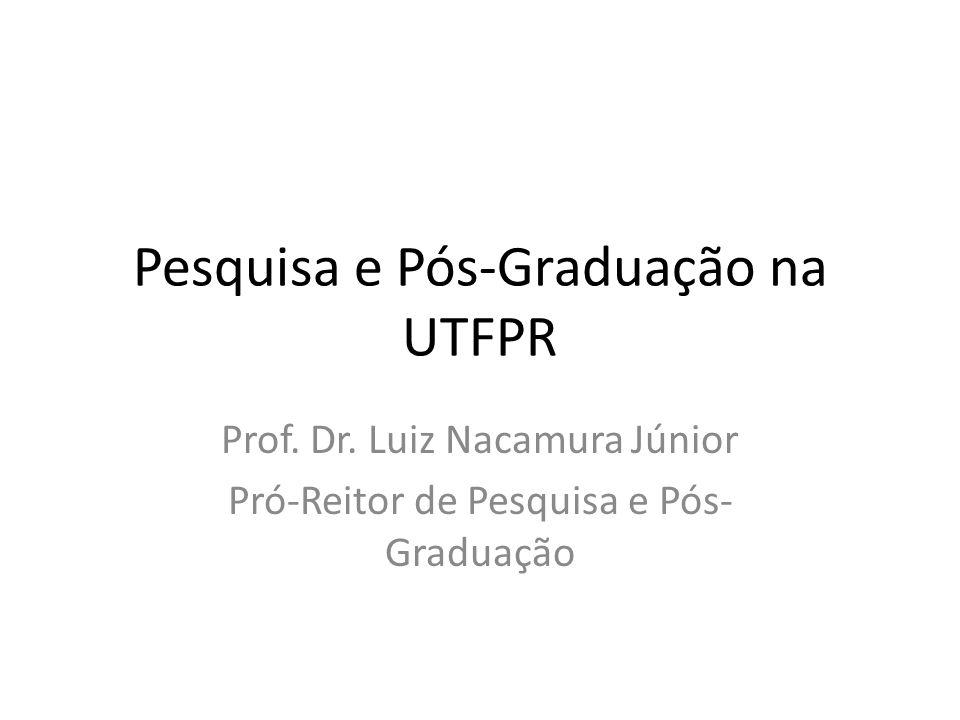 Pesquisa e Pós-Graduação na UTFPR Prof. Dr. Luiz Nacamura Júnior Pró-Reitor de Pesquisa e Pós- Graduação
