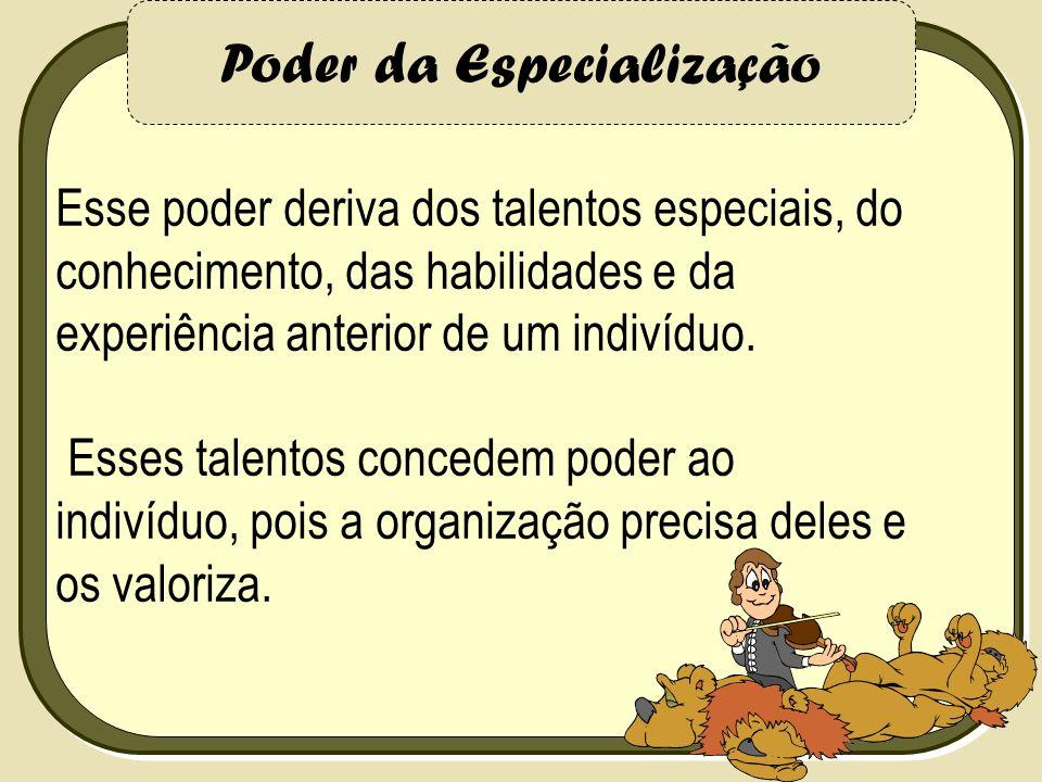 Poder da Especialização Esse poder deriva dos talentos especiais, do conhecimento, das habilidades e da experiência anterior de um indivíduo. Esses ta