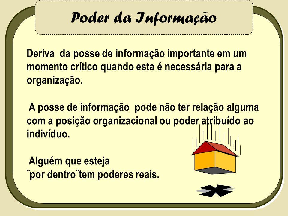 Poder da Informação Deriva da posse de informação importante em um momento crítico quando esta é necessária para a organização. A posse de informação