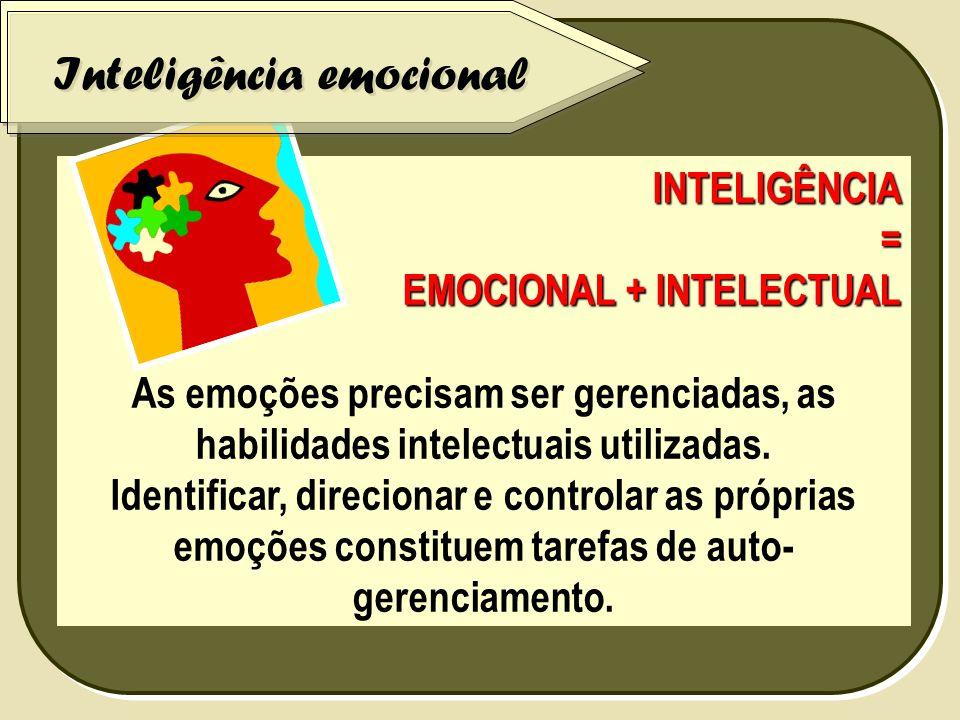 INTELIGÊNCIA = EMOCIONAL + INTELECTUAL As emoções precisam ser gerenciadas, as habilidades intelectuais utilizadas. Identificar, direcionar e controla