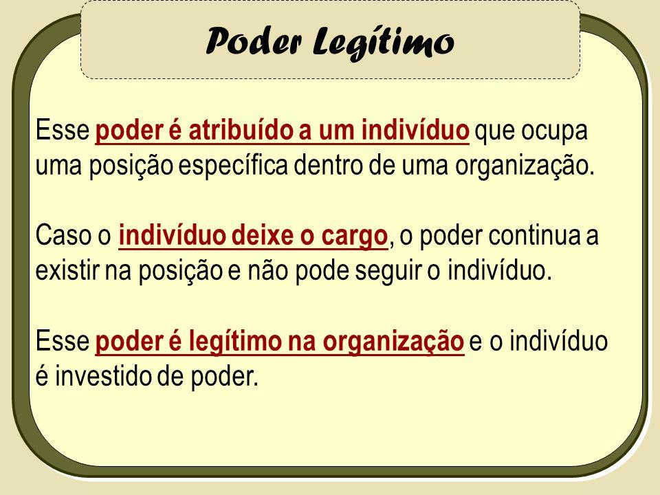 Poder Legítimo Esse poder é atribuído a um indivíduo que ocupa uma posição específica dentro de uma organização. Caso o indivíduo deixe o cargo, o pod