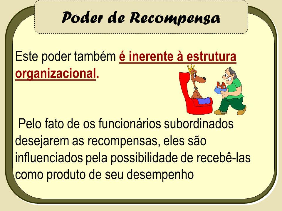 Poder Coercivo punir Está relacionado à habilidade do gerente em punir um funcionário.