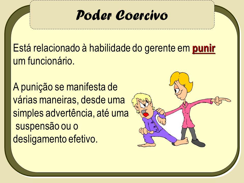 Poder Coercivo punir Está relacionado à habilidade do gerente em punir um funcionário. A punição se manifesta de várias maneiras, desde uma simples ad