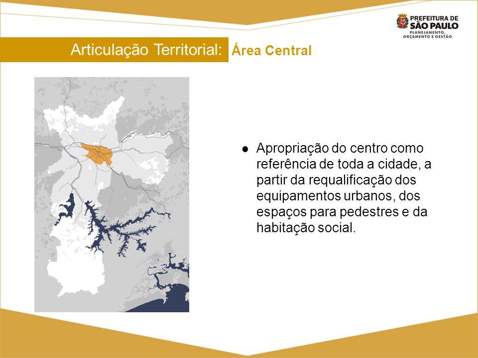 Articulação Territorial: Área Central Articulação Territorial: Área Central Apropriação do centro como referência de toda a cidade, a partir da requal