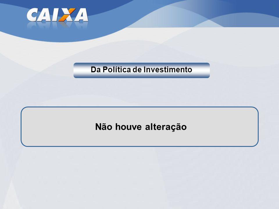 Da Política de Investimento Não houve alteração
