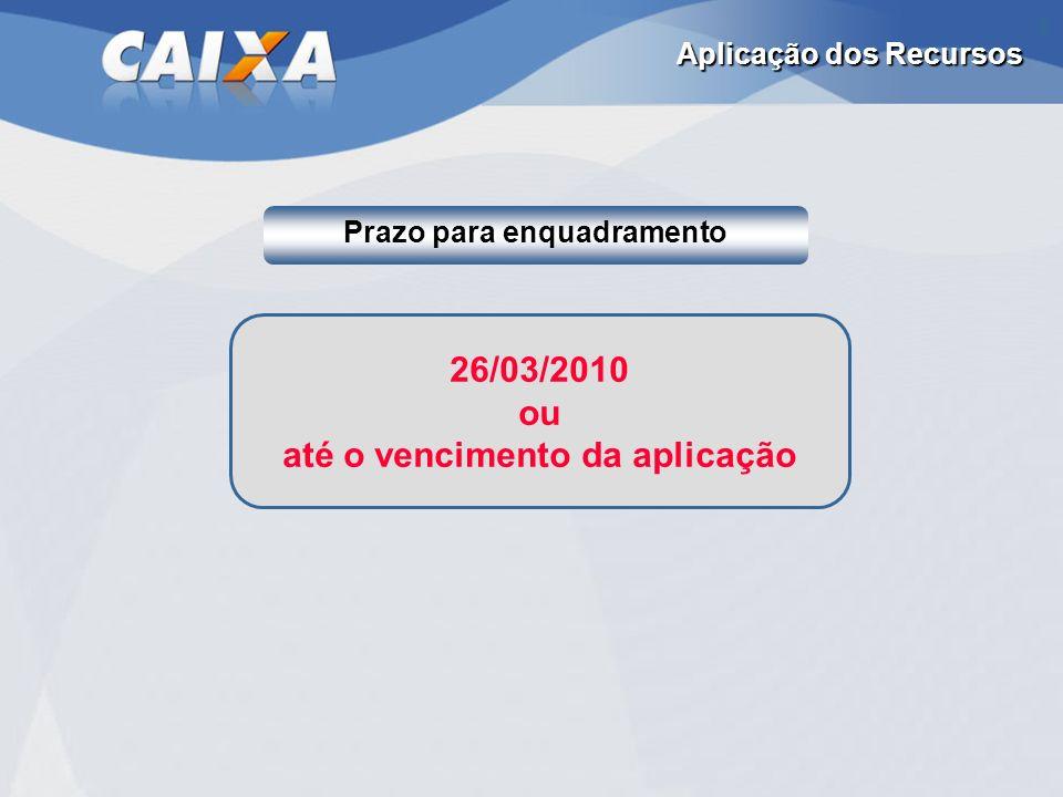 26/03/2010 ou até o vencimento da aplicação Aplicação dos Recursos Prazo para enquadramento
