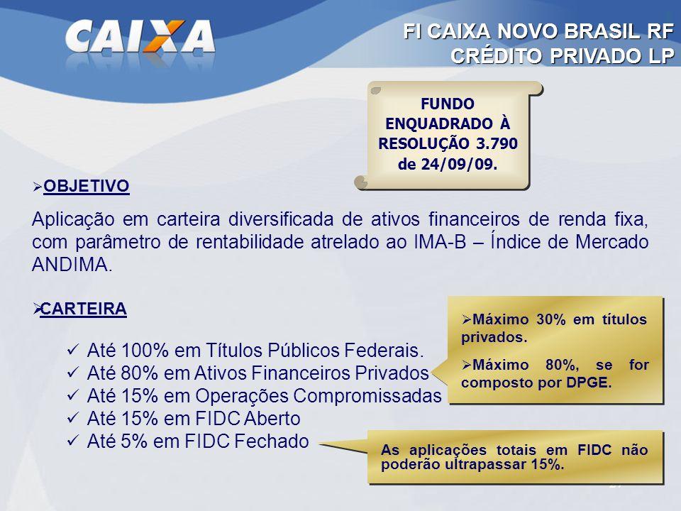 27 OBJETIVO Aplicação em carteira diversificada de ativos financeiros de renda fixa, com parâmetro de rentabilidade atrelado ao IMA-B – Índice de Merc