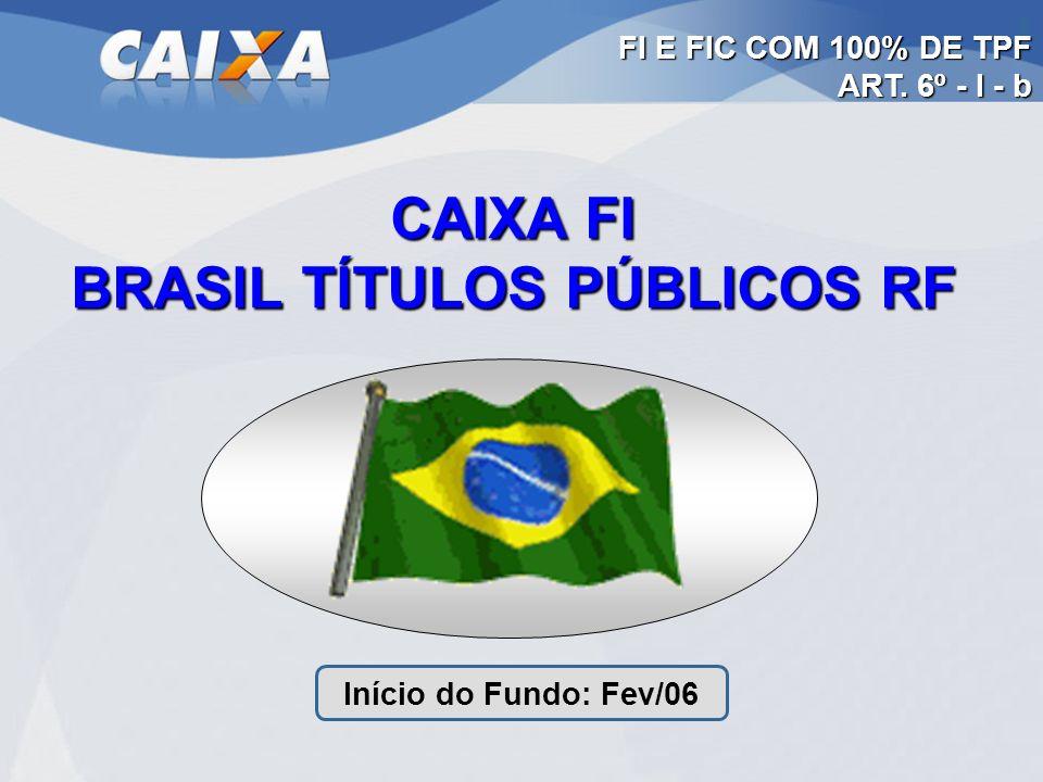 CAIXA FI BRASIL TÍTULOS PÚBLICOS RF Início do Fundo: Fev/06 FI E FIC COM 100% DE TPF ART. 6º - I - b