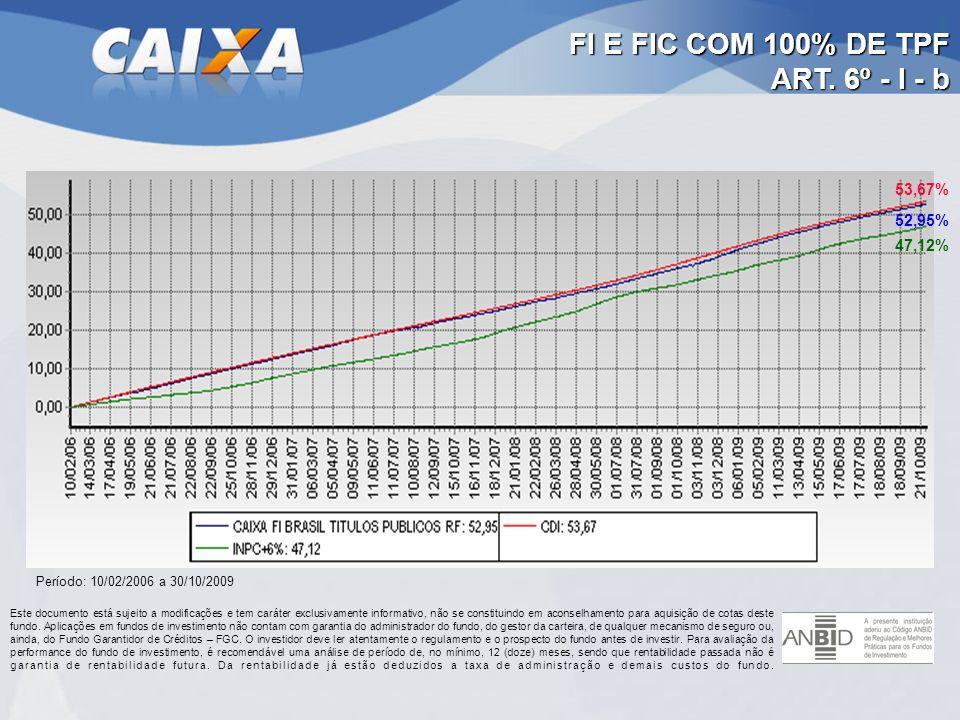 FI E FIC COM 100% DE TPF ART. 6º - I - b Período: 10/02/2006 a 30/10/2009 53,67% 52,95% 47,12%