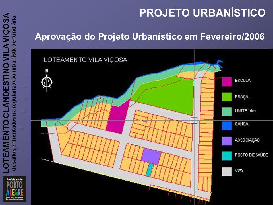LOTEAMENTO CLANDESTINO VILA VIÇOSA desafios enfrentados na regularização urbanística e fundiária PROJETO URBANÍSTICO Aprovação do Projeto Urbanístico em Fevereiro/2006