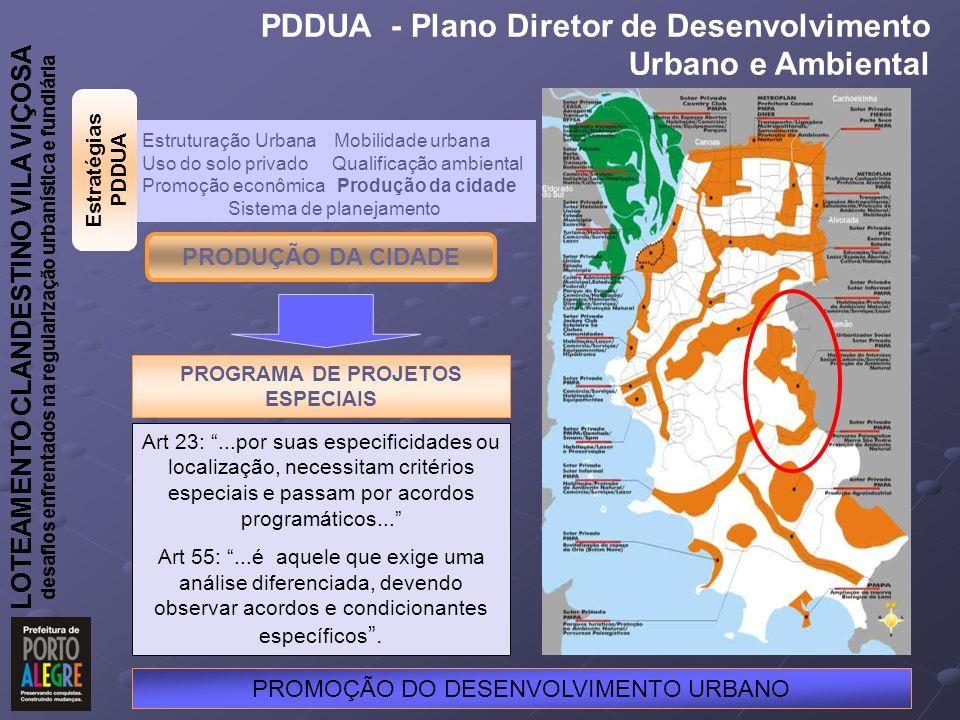 LOTEAMENTO CLANDESTINO VILA VIÇOSA desafios enfrentados na regularização urbanística e fundiária PRODUÇÃO DA CIDADE PROGRAMA DE PROJETOS ESPECIAIS PROMOÇÃO DO DESENVOLVIMENTO URBANO Estruturação Urbana Mobilidade urbana Uso do solo privado Qualificação ambiental Promoção econômica Produção da cidade Sistema de planejamento PDDUA - Plano Diretor de Desenvolvimento Urbano e Ambiental LOTEAMENTO CLANDESTINO VILA VIÇOSA desafios enfrentados na regularização urbanística e fundiária Art 23:...por suas especificidades ou localização, necessitam critérios especiais e passam por acordos programáticos...