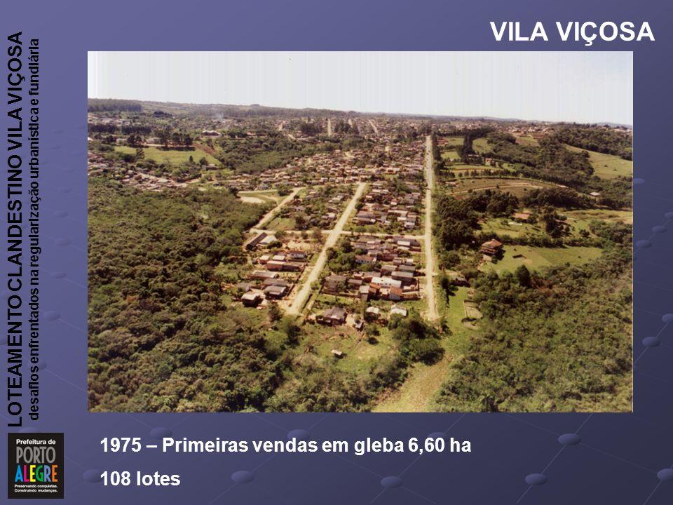 LOTEAMENTO CLANDESTINO VILA VIÇOSA desafios enfrentados na regularização urbanística e fundiária VILA VIÇOSA 1975 – Primeiras vendas em gleba 6,60 ha 108 lotes