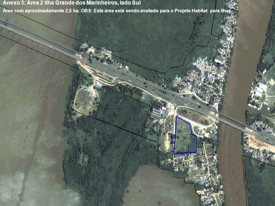 Anexo 3: Área 2 Ilha Grande dos Marinheiros, lado Sul Área com aproximadamente 2,5 ha. OBS: Esta área está sendo avaliada para o Projeto Habitat para