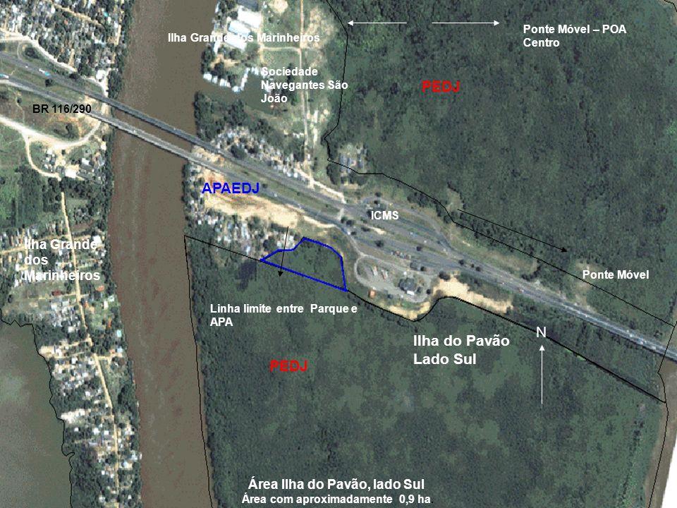 APAEDJ PEDJ Linha limite entre Parque e APA ICMS Ponte Móvel Ilha do Pavão Lado Sul N Ilha Grande dos Marinheiros BR 116/290 Sociedade Navegantes São