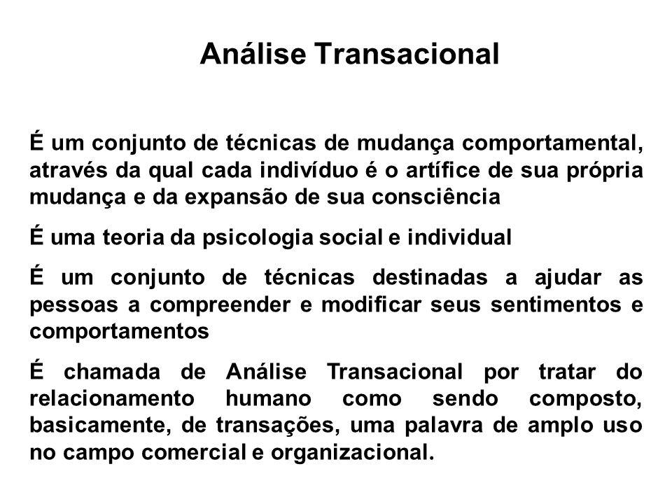 Análise Transacional É um conjunto de técnicas de mudança comportamental, através da qual cada indivíduo é o artífice de sua própria mudança e da expa