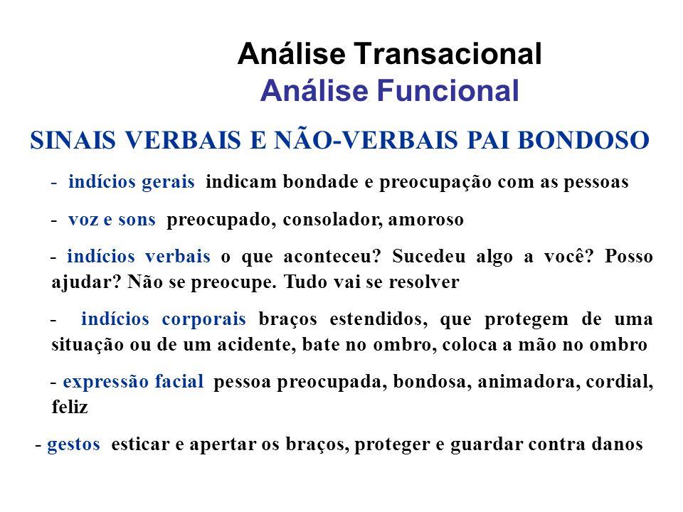 Análise Transacional Análise Funcional SINAIS VERBAIS E NÃO-VERBAIS PAI BONDOSO - indícios gerais indicam bondade e preocupação com as pessoas - voz e