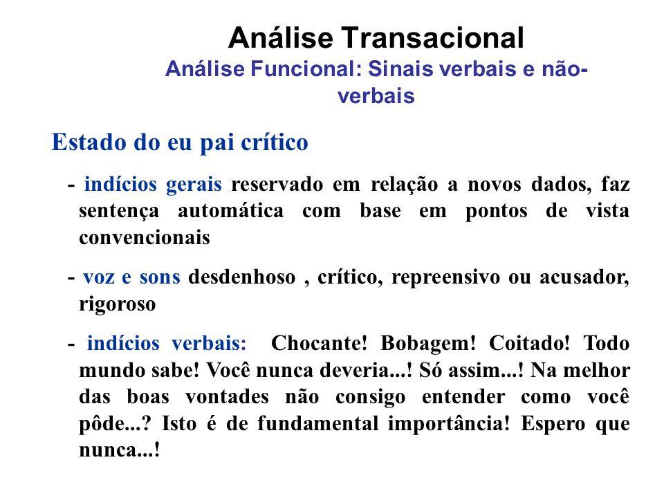 Análise Transacional Análise Funcional: Sinais verbais e não- verbais Estado do eu pai crítico - indícios gerais reservado em relação a novos dados, f