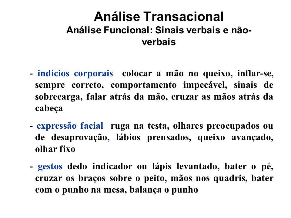 Análise Transacional Análise Funcional: Sinais verbais e não- verbais - indícios corporais colocar a mão no queixo, inflar-se, sempre correto, comport
