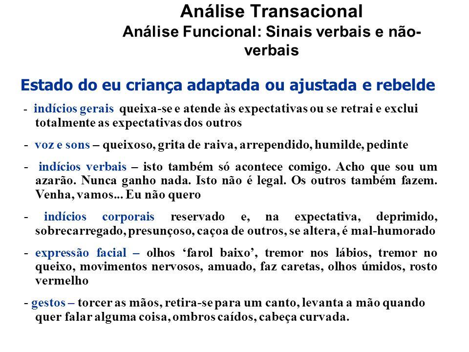 Análise Transacional Análise Funcional: Sinais verbais e não- verbais Estado do eu criança adaptada ou ajustada e rebelde - indícios gerais queixa-se