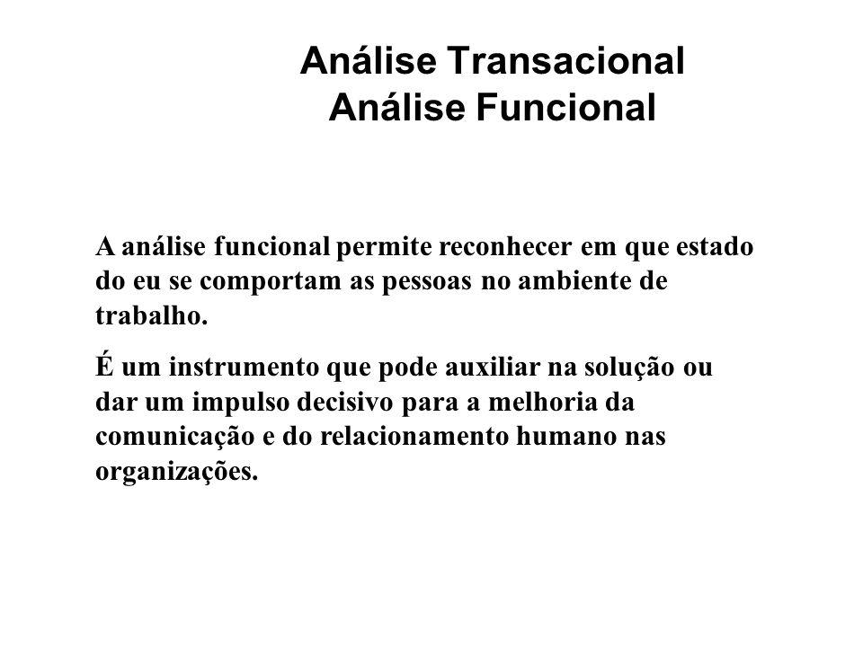 Análise Transacional Análise Funcional A análise funcional permite reconhecer em que estado do eu se comportam as pessoas no ambiente de trabalho. É u