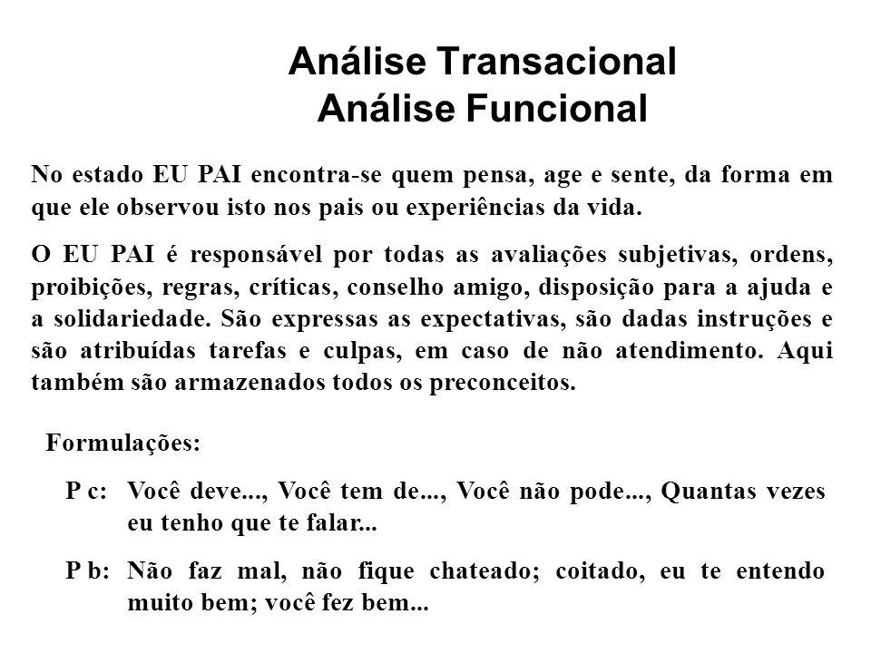 Análise Transacional Análise Funcional: Sinais verbais e não- verbais Estado do eu adulto - indícios gerais coleta de dados, sentimental, aberto, pensativo - voz e sons objetiva, calma, contínua - indícios verbais Como.