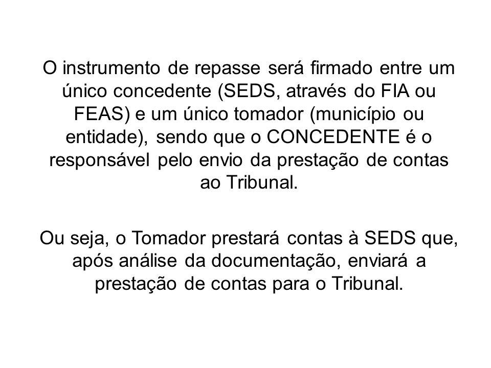 O instrumento de repasse será firmado entre um único concedente (SEDS, através do FIA ou FEAS) e um único tomador (município ou entidade), sendo que o