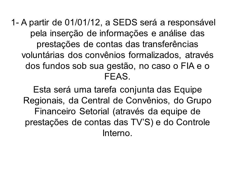 1- A partir de 01/01/12, a SEDS será a responsável pela inserção de informações e análise das prestações de contas das transferências voluntárias dos