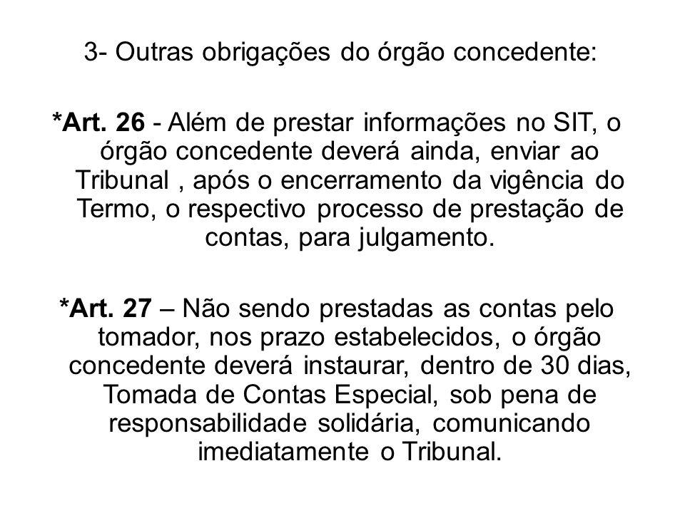 3- Outras obrigações do órgão concedente: *Art. 26 - Além de prestar informações no SIT, o órgão concedente deverá ainda, enviar ao Tribunal, após o e