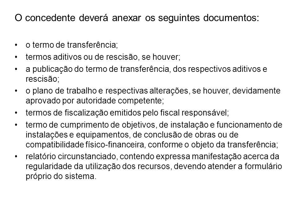 O concedente deverá anexar os seguintes documentos: o termo de transferência; termos aditivos ou de rescisão, se houver; a publicação do termo de tran